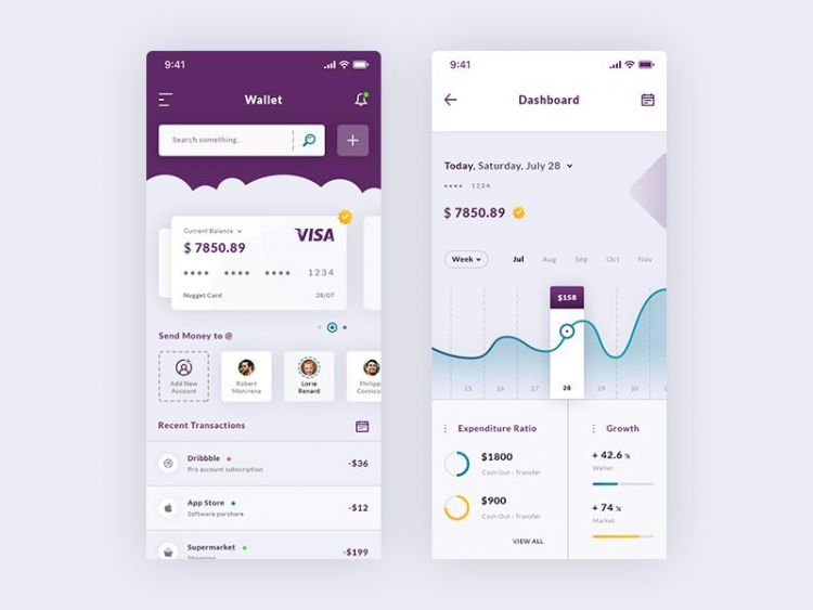Wallet & Dashboard iOS Free App UI
