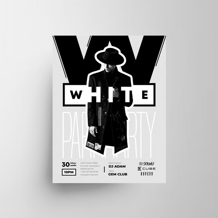 White Party Free Flyer Template (PSD)