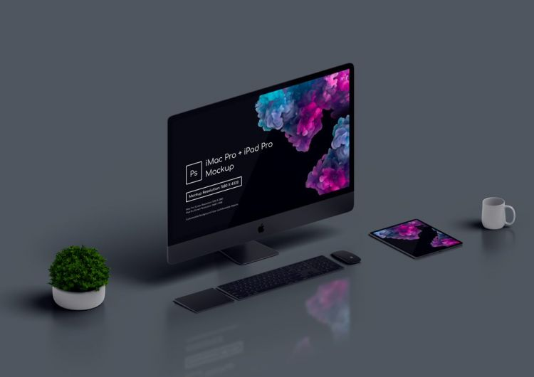 iMac Pro and iPad Pro Free Mockup