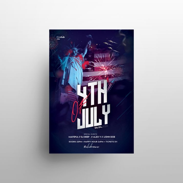 4th July 2020 Party Free Flyer Template (PSD)