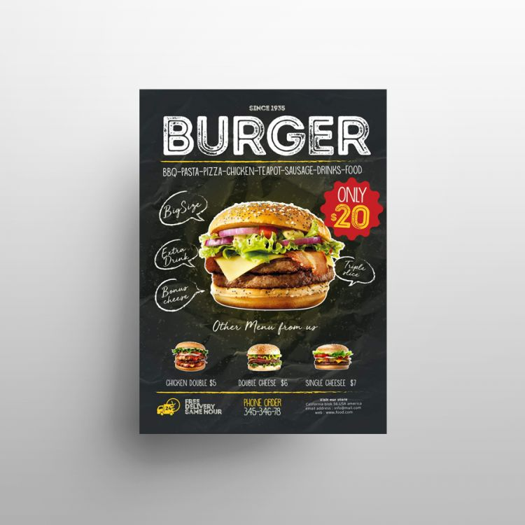 Burger Promotion Free Flyer Template (PSD)