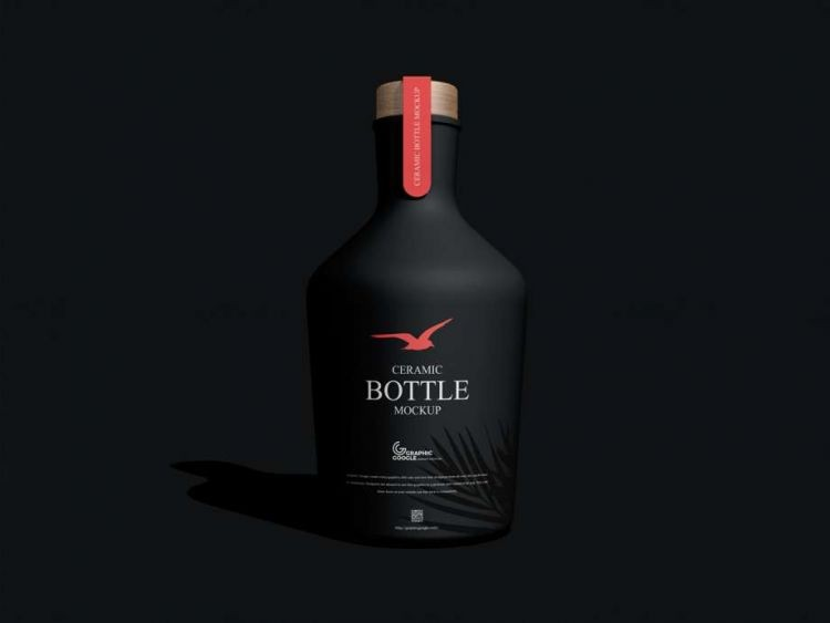 Ceramic Bottle Free Mockup