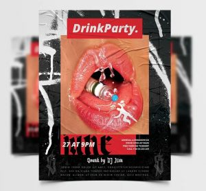 Drink Party Free Flyer Template (PSD)