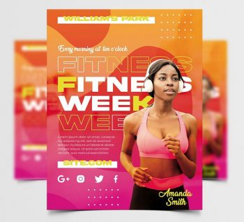 Fitness Week Ad Free Flyer Template (PSD)