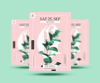 Floral Minimal Ad Free Flyer Template (PSD)