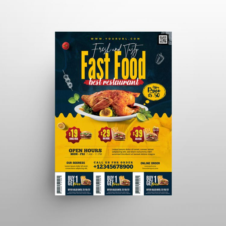 Food Promotion Menu Free Flyer Template (PSD)