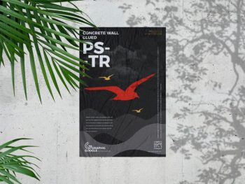 Free Concrete Wall Glued Poster Mockup