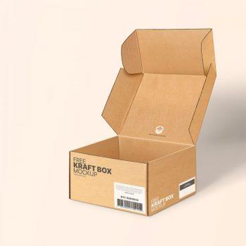 Free Open Kraft Box Mockup