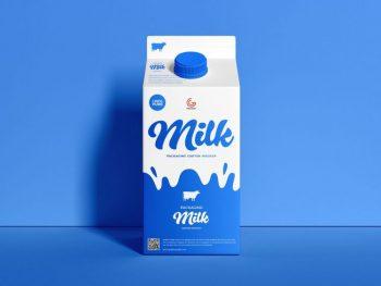 Free Packaging Milk Carton Mockup