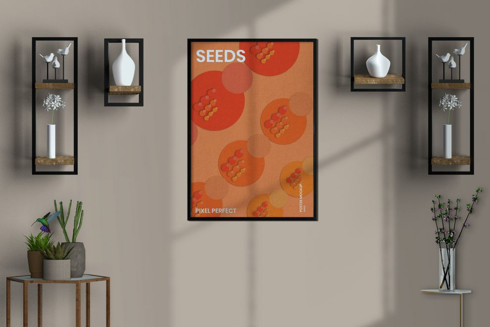 Free Poster Frame in Room Mockup
