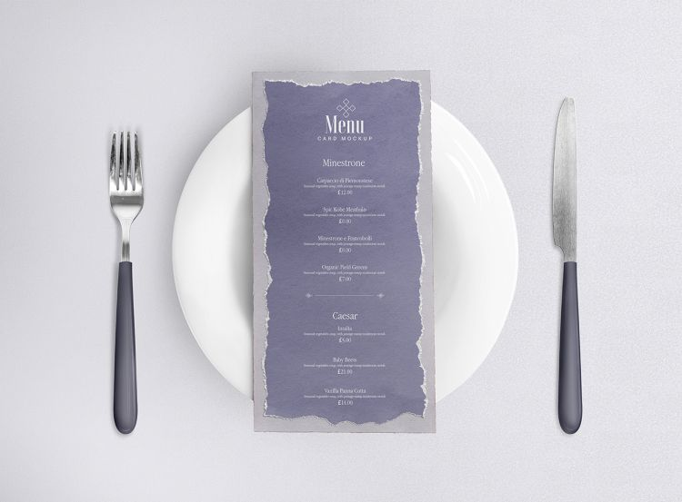 Free Restaurant Menu Card Mockup