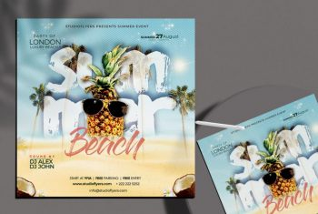 Free Summer Party Flyer Template (PSD)