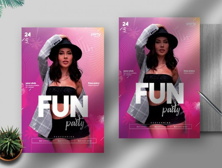 Girls Party Free Flyer Template (PSD)