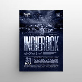 Indie Rock Festival Free Flyer Template (PSD)