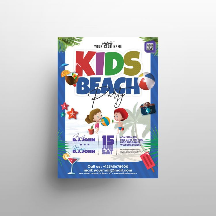 Kids Summer Party Free Flyer Template (PSD)