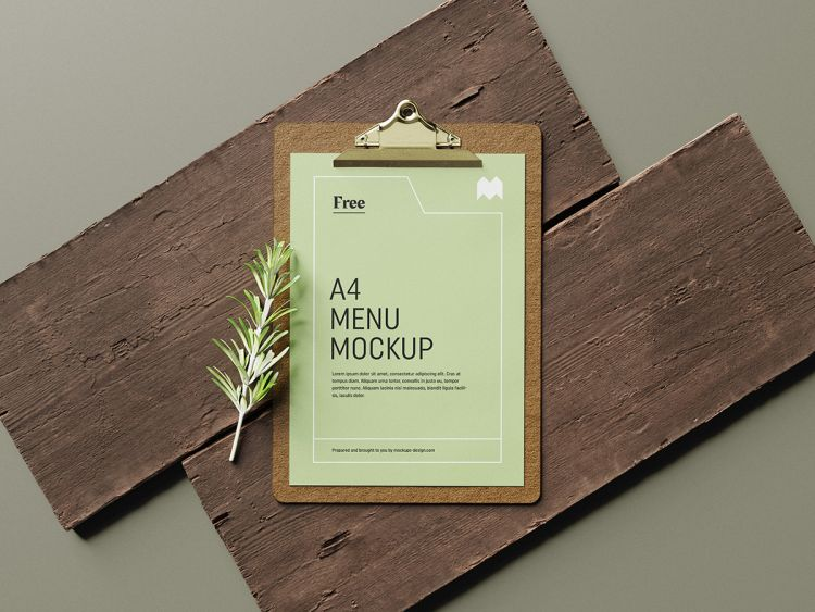 Menu on Wood Free Mockup Scene (PSD)