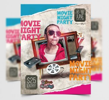 Movie Event Free Retro Flyer Template (PSD)