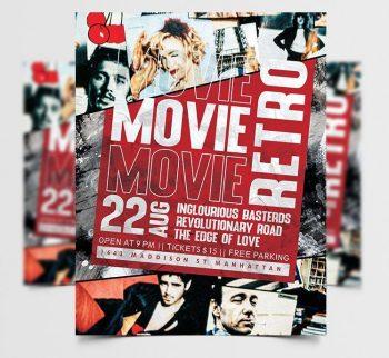 Movie Night Free Retro Flyer Template (PSD)