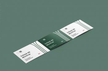 Open Horizontal Tri-Fold Brochure Free Mockup