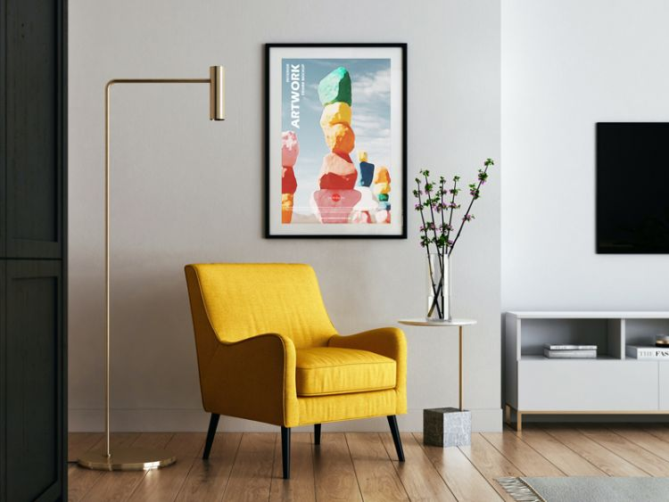 Poster Frame in Living Room Free Mockup