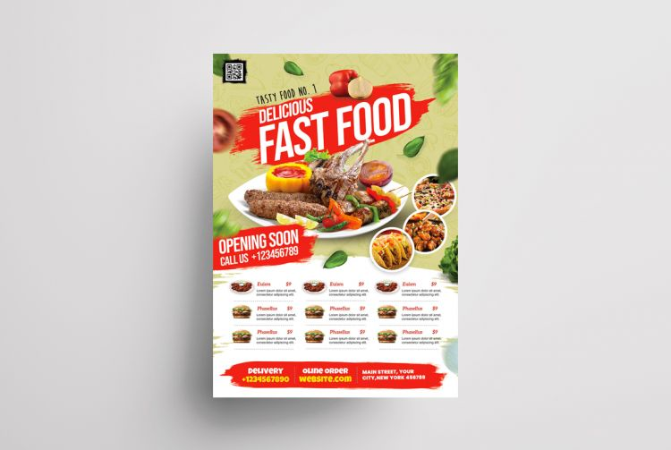 Restaurant Food Ad Free Flyer Template (PSD)