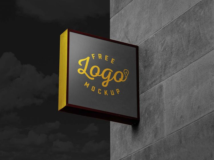 Signage in Wall Free Mockup (PSD)