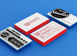 Stack of Business Cards Free Mockup (PSD)