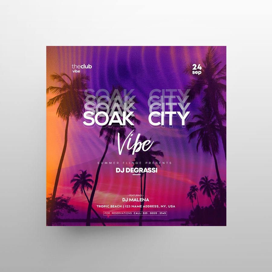 Summer City Free PSD Flyer Template