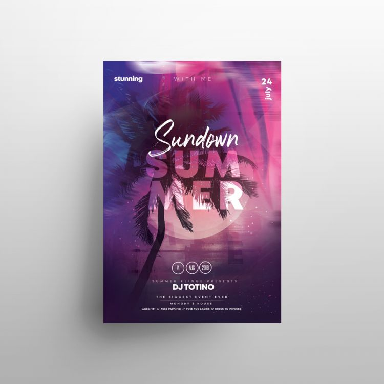 Summer Time Free Event Flyer Template (PSD)