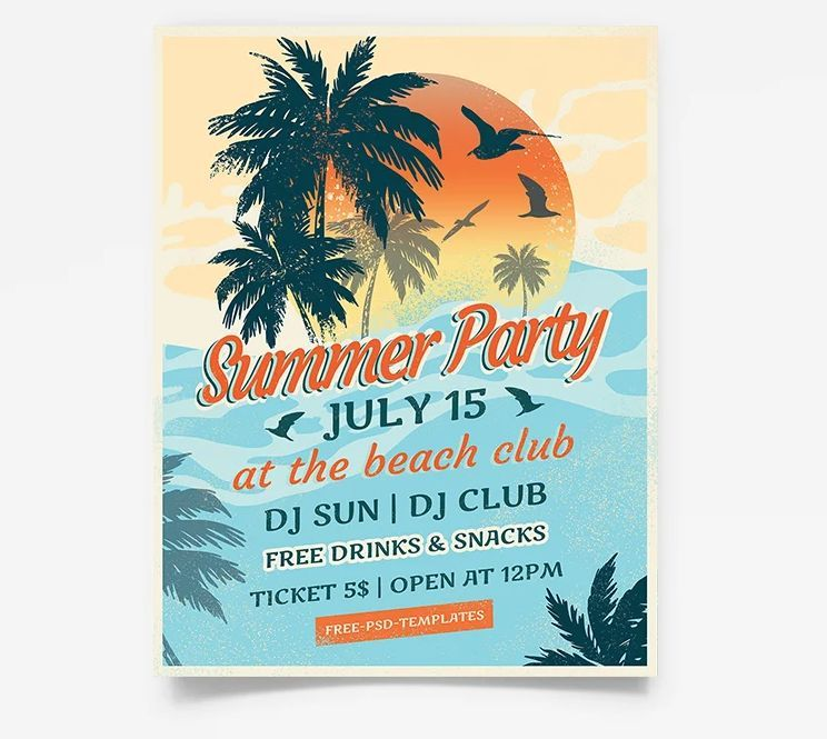 Summer Vintage Free Party Flyer Template (PSD)
