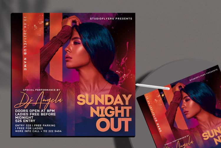Sunday Vibe Free Party Flyer Template (PSD)