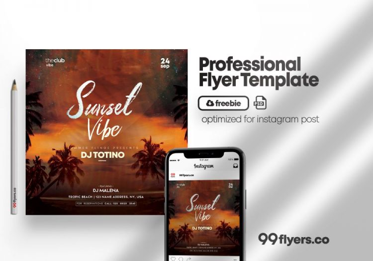 Sunset Beach Free Party PSD Flyer Template