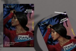 Tropical Beach Event Free Flyer Template (PSD)