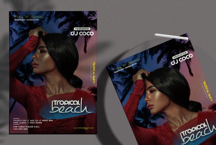 Tropical Beach Event Free Flyer Template (PSD)