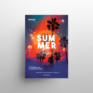 Tropical Music Free Party Flyer Template (PSD)
