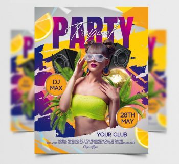 Tropical Party Day Free PSD Flyer Template