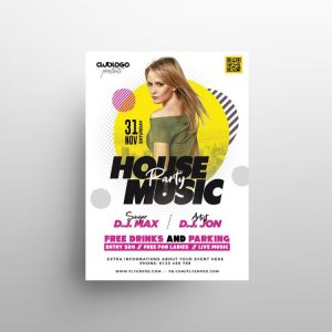 White Club Party Free Flyer Template (PSD)
