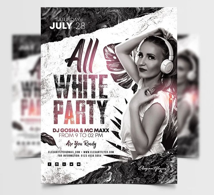 White Party Free DJ PSD Flyer Template