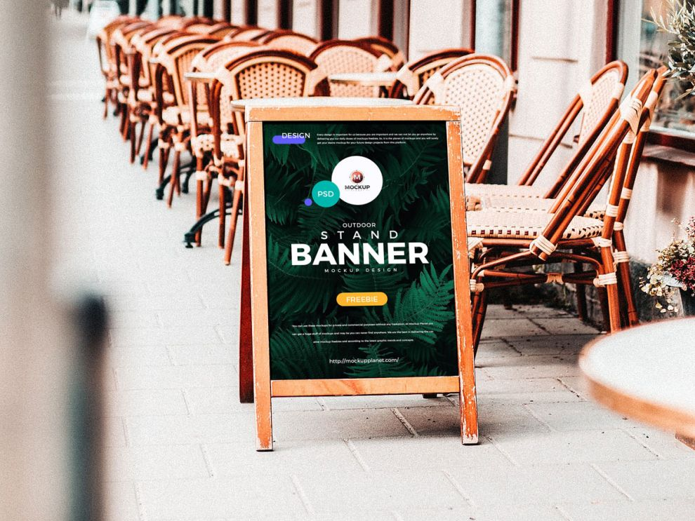 Advertising Stand Banner Free Mockup