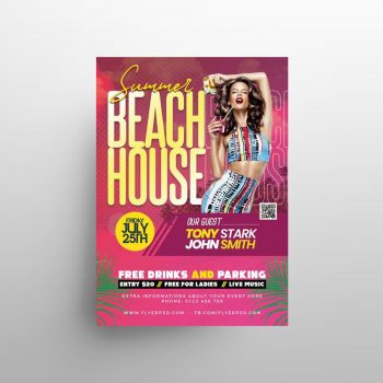 Beach House Party Free Flyer Template (PSD)