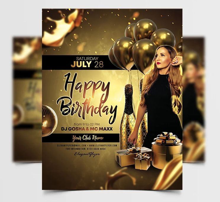 Birthday Luxury Free Gold Flyer Template (PSD)