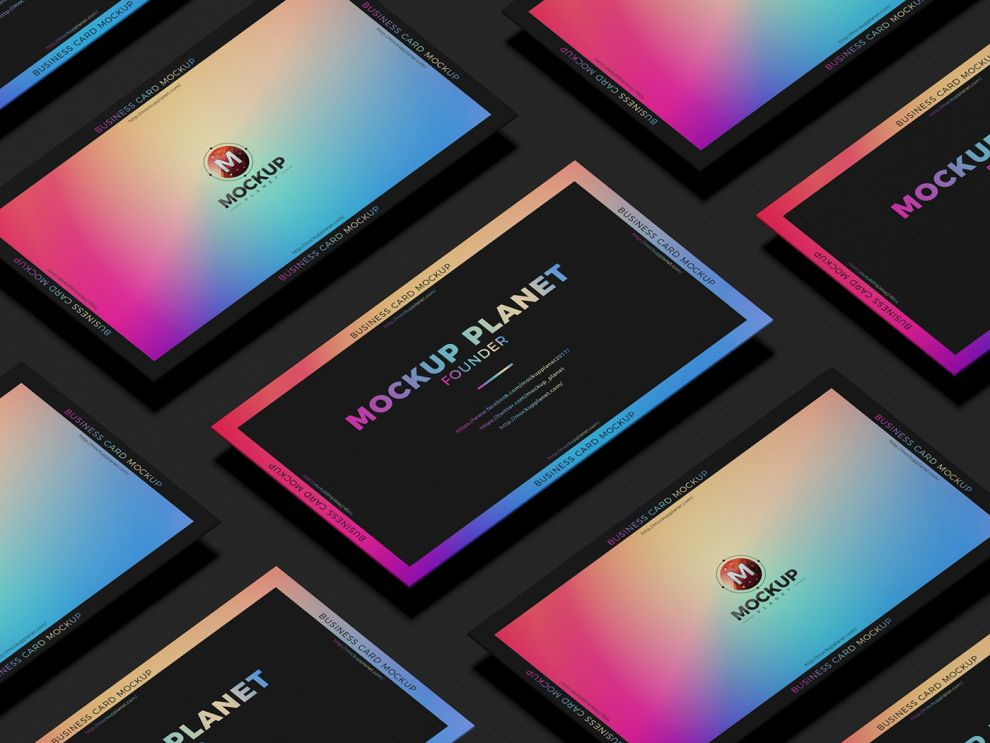 Business Card Grid Portfolio Free Mockup