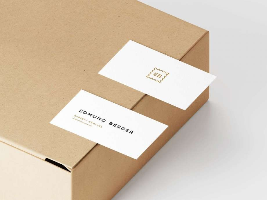 Business Card On Box Free Mockup (PSD)