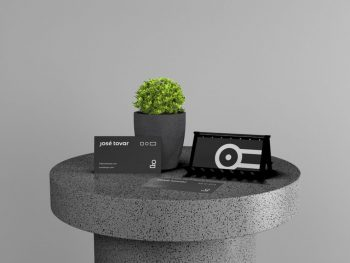 Business Card Stand Free Mockup (PSD)