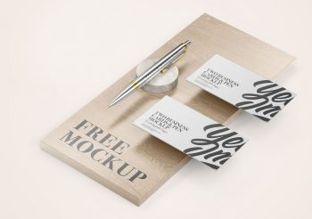 Business Cards & Pen in Wood Free Mockup