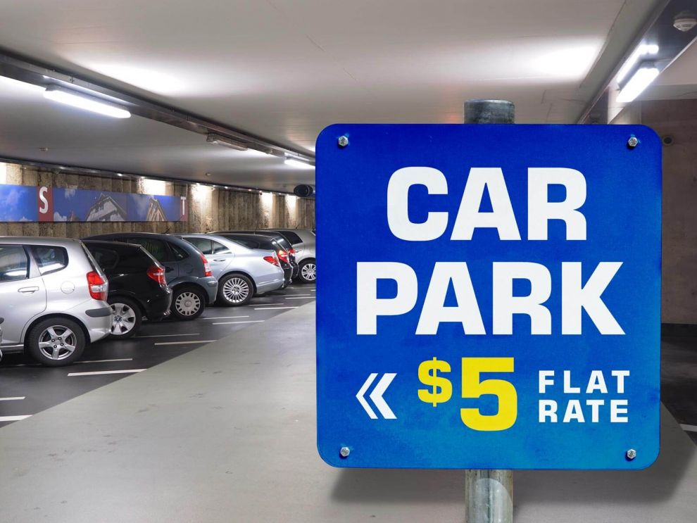 Car Parking Signage Advertisment Free Mockup