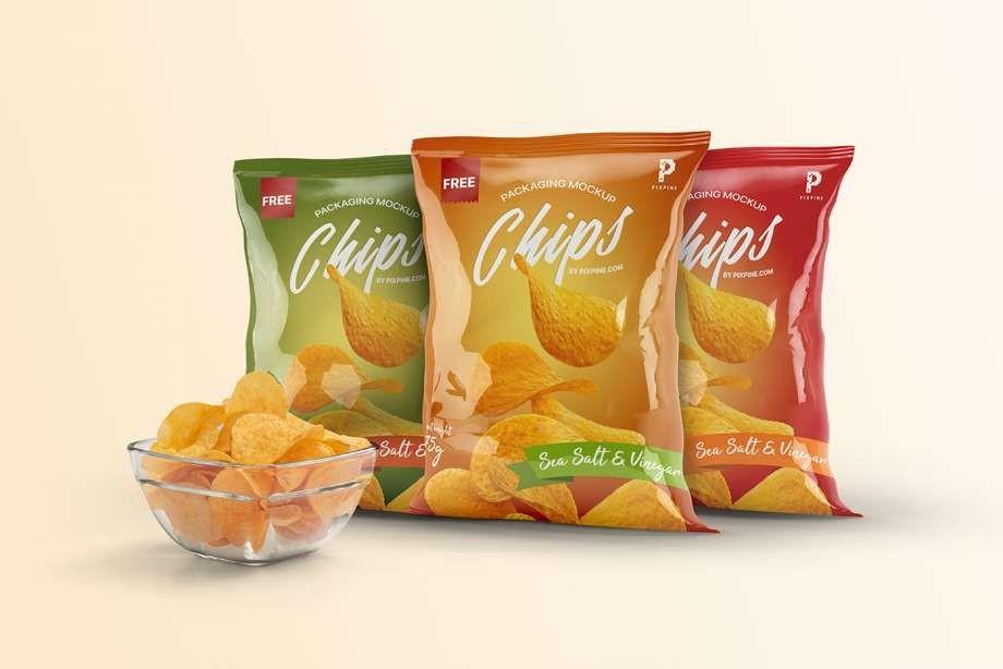 Chips Bag Packaging Free Mockup