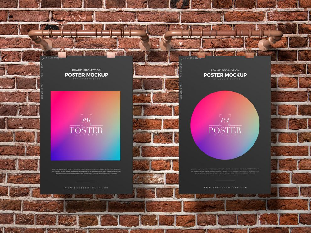 Clipped Hanging Posters Free Mockup