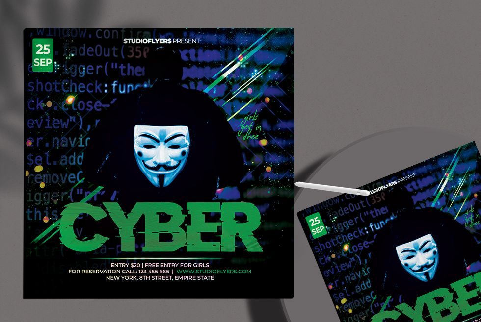 Cyber Party Free PSD Flyer Template