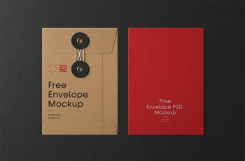 Envelope With String Free Mockup (PSD)